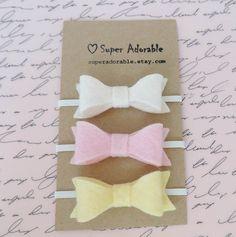 Set of 3 Mini Felt Bow Headbands by SuperAdorable on Etsy, $10.99