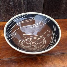 Brown Turtle Bowl made by Jean's Clay Studio, Milwaukee, Wisconsin.