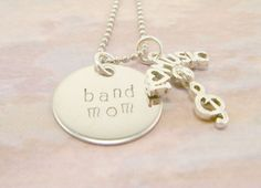 Hand Stamped Jewelry Band Mom Stainess Steel Necklace with I love music charm. $21.00, via Etsy.