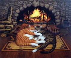 """In one of Charles Wysocki's cat prints, feline buddies Max and Remington enjoy the warmth of the fireplace while three mice peek out from the woodpile and fireplace shovel. """"I believe that animals, li"""