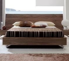 Paris Contemporary Bed in Walnut