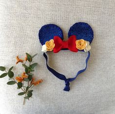 Hey, I found this really awesome Etsy listing at https://www.etsy.com/listing/231002803/snow-white-mickey-mouse-ears-headband