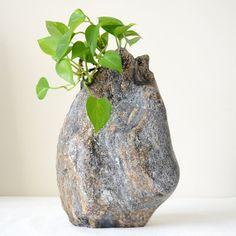 Stone Vase Organic Shape Vase Decorative Piece by Sevenstone, $125.00