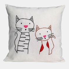 friend cats Pillow linen pillow Hand Embroidered by NIARMENA, $29.00