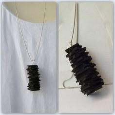 Geometric black sponge rubber necklace black por Indigomade, $15.00