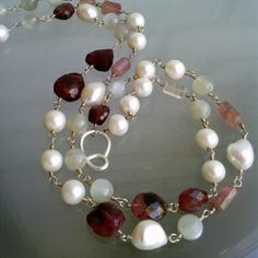 Double necklace with red tourmalline, grey moonstone and white pearls on fine silver.