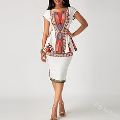 African Wear, African Attire, African Dress, African Dashiki, African Clothes, African Style Clothing, Trendy Clothing, Clothing Hacks, White Sheath Dress