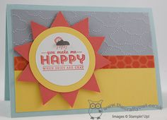 2014 The Crafty Owl's Blog | You Make Me Happy  -  circle punch, Big Shot, Cloudy Day Textured Impressions Embossing Folder, Triangle Punch, This and That, Washi Tape,