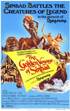 The Golden Voyage of Sinbad - Sinbad and his crew intercept a homunculus carrying a golden tablet. Koura, the creator of the homunculus and practitioner of evil magic, wants the tablet back and pursues Sinbad. Meanwhile Sinbad meets the Vizier who ha Fantasy Movies, Sci Fi Movies, Old Movies, Vintage Movies, Movie Tv, Horror Movies, Classic Movie Posters, Movie Poster Art, Classic Movies