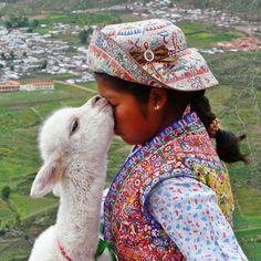 Kiss of an Alpaca - Chivay - Arequipa PERU - [By Stathis Chionidis] Cute Alpaca, Llama Alpaca, Baby Alpaca, Alpacas, Animals For Kids, Animals And Pets, Cute Animals, Beautiful Children, Animals Beautiful