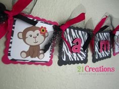 Girl Monkey High Chair Banner in Zebra Print by 21Creations, $14.00