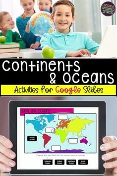 Teaching social studies online and need continents and oceans activities? This Google Slides continents and oceans digital resource allows students to practice identifying continents and oceans and then gives them an opportunity to research about each continent and ocean using provided teacher-approved websites and record facts learned. Ocean Activities, Social Studies Activities, Teaching Social Studies, Interactive Activities, Learning Activities, Teaching Ideas, Teaching Second Grade, Third Grade, Continents And Oceans