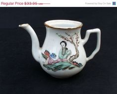 Antique Hand Painted Narrow Spout Chinese or Japanese Porcelain Teapot - No Lid