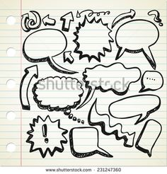 set of speak #bubble in doodle style - stock vector  #design #graphic #vector #illustration #doodle #sketch #element #comic #speech