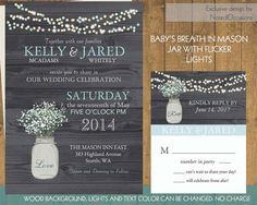 Mason Jar Wedding Invitation- Rustic Mason Jar Country Wedding Invitations with Baby's Breath and flicker lights - on wood grain background by NotedOccasions, $45.00