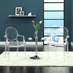 Modern Furniture Dinning Chair Clear Acrylic Lucite Modern Ghost Armchair