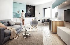 Visually pleasing one-bedroom apartment interiors in Russia