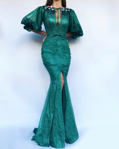 Myrtle Embel TMD Gown Details - Pine color - Glitter fabric - Handmade embroidered flowers and ccrystals - Mermaid style with sleeves - Party and evening dress Lace Gown Styles, Aso Ebi Lace Styles, African Lace Styles, African Lace Dresses, Latest African Fashion Dresses, Muslim Evening Dresses, Evening Gowns, Prom Dresses, Elegant Dresses