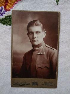 Antique Hungarian CDV/visit card, man in uniform/soldier, Schmidt Ede Budapest Schmidt, Budapest, Men In Uniform, Man, Baseball Cards, Antiques, Antiquities, Antique, Old Stuff