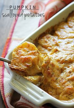 Swiss cheesy and creamy Pumpkin Scalloped Potatoes seasoned with chipolte pepper and thyme