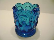 L.E. Smith Blue Moon and Stars Glass Toothpick Holder