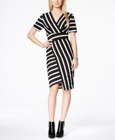 ECI Striped Faux-Wrap Asymmetrical Sheath Dress