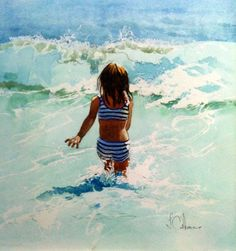 """The Wave Hopper"" by Trevor Osborne - This watercolour reminds me of when I was a little girl playing on the beach in Florida. All day, every day."