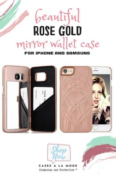 This rose gold mirror wallet case is essential! The perfect phone case from CASESALAMODE Girly Phone Cases, Phone Cases Samsung Galaxy, Phone Covers, Phone Gadgets, Tech Gadgets, Techie Gifts, Gold Mobile, Pink Mirror, Pastel Fashion