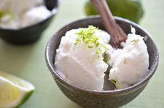 Lime Coconut Sorbet by theendlessmeal: Made of unsweetened coconut milk, water, limes and sugar. #Sorbet #Lime #Coconut #theendlessmeal