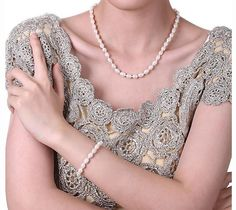 Water Drop Natural Freshwater Pearl Jewelry Sets - Necklace Earrings Bracelet -925 Sterling Silver