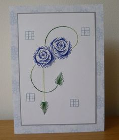 Art nouveau roses - stitched card