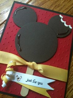 Disney Mickey Bar card - What a delicious Valentine to give! Or would be cute on a scrapbook page of the kids eating their Mickey Ice Cream bars.