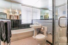 1930 blue and white art deco bathroom tile.1101 Green St #202, San Francisco, CA 94109.