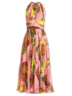 DOLCE & GABBANA Pineapple-Print Silk-Chiffon Halterneck Dress. #dolcegabbana #cloth #dress