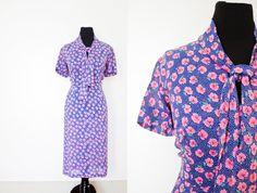 Vintage 1940s Dress  Pink & Blue Floral by dejavintageboutique