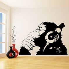 Banksy Vinyl Wall Decal Monkey With Headphones / One Color Chimp Listening to Music in Earphones / Street Graffiti Sticker + Free Decal Gift