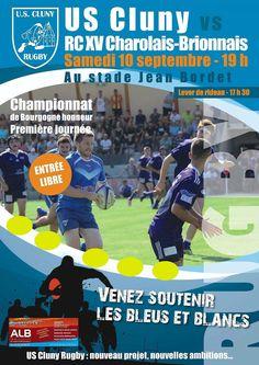 Match US Cluny rugby – Rugby club XV Charolais-Brionnais le 10 septembre 2016 à…