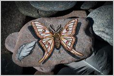 Spanish Moon Moth on Lake Superior Stone by StonewingsbyOshi on Etsy