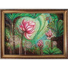 Дизайнерская картина из янтаря Лотос саду в технике янтарной росписи для незабываемого подарка друзьям или любимым к юбилею, семейному торжеству, корпоративному празднику. Изделие выполнено янтарными красками из песка и масла, украшено и более крупными фрагментами янтаря. Картина с изображением маги