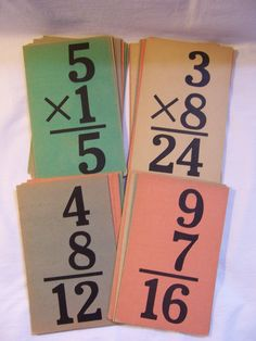 Vintage flash cards in 1950s colors.