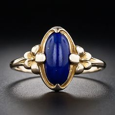 Vintage Lapis Flower Ring - 30-1-4946 - Lang Antiques - another one that's just plain beautiful