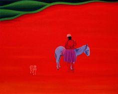 Žena s oslem 2001,  120 x 150 cm