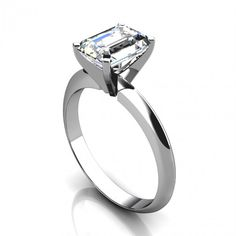 Emerald Cut Tiffany Style Solitaire Engagement Ring