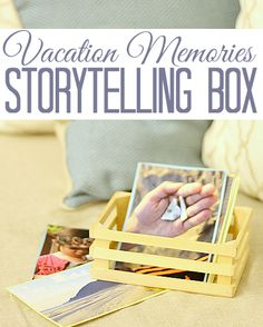 Use family photos to create a storytelling box. Perfect wrap up activity for summer vacation.