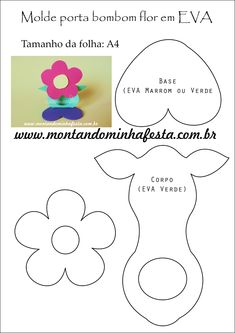 Porta bombom em eva no formato de flor passo a passo, ideia para festa jardim Foam Crafts, Diy Arts And Crafts, Crafts For Kids, Diy Crafts, Paper Folding Crafts, Paper Crafts, Mother's Day Projects, Bow Template, Foam Sheets