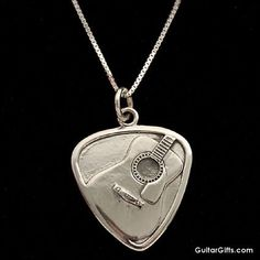 unusual guitar picks | GIFTS: GUITAR: JEWELRY: Silver Guitar Pick Necklace, Gifts for Guitar ...