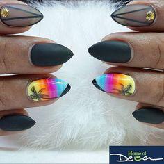 Neon Tropical Palm Tree Stiletto Nails
