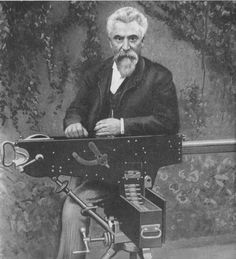 """Hiram S. Maxim started a lightbulb company in the """"United States Electric Lighting Company"""" was the second company, after Edison, to sell practical incandescent electric lamps. Winchester Lever Action, Thermal Energy, Computer Animation, British Colonial, Weapons Guns, World War I, Cool Photos, Things To Sell, Machine Guns"""