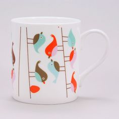 Isak White Birds Mug