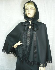 Black gothic cape for halloween costume party by estylissimo, $39.00